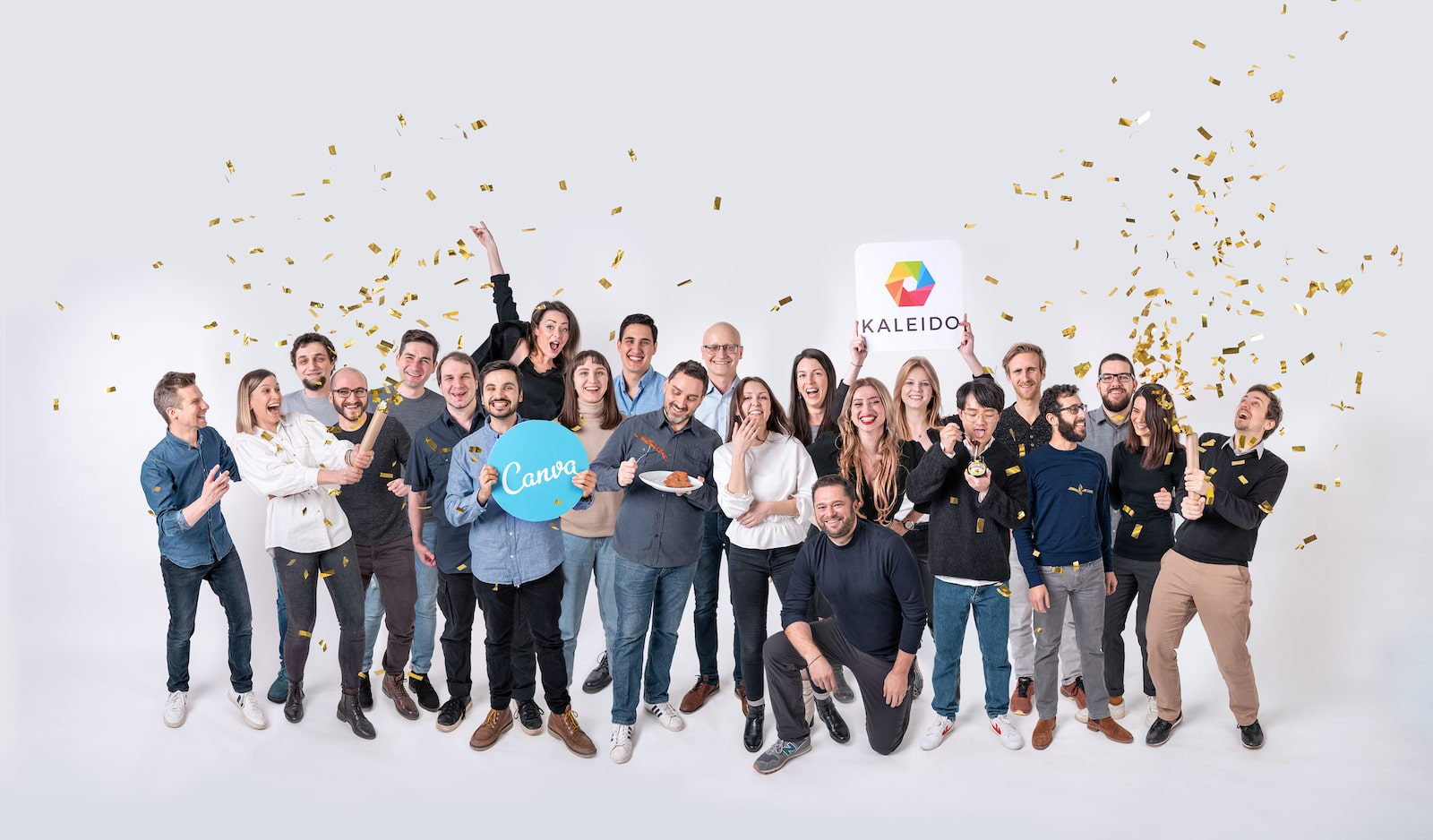 The Vienna-based Kaleido AI team in a COVID-safe digital montage created using Kaleido's AI-based background removal technology.